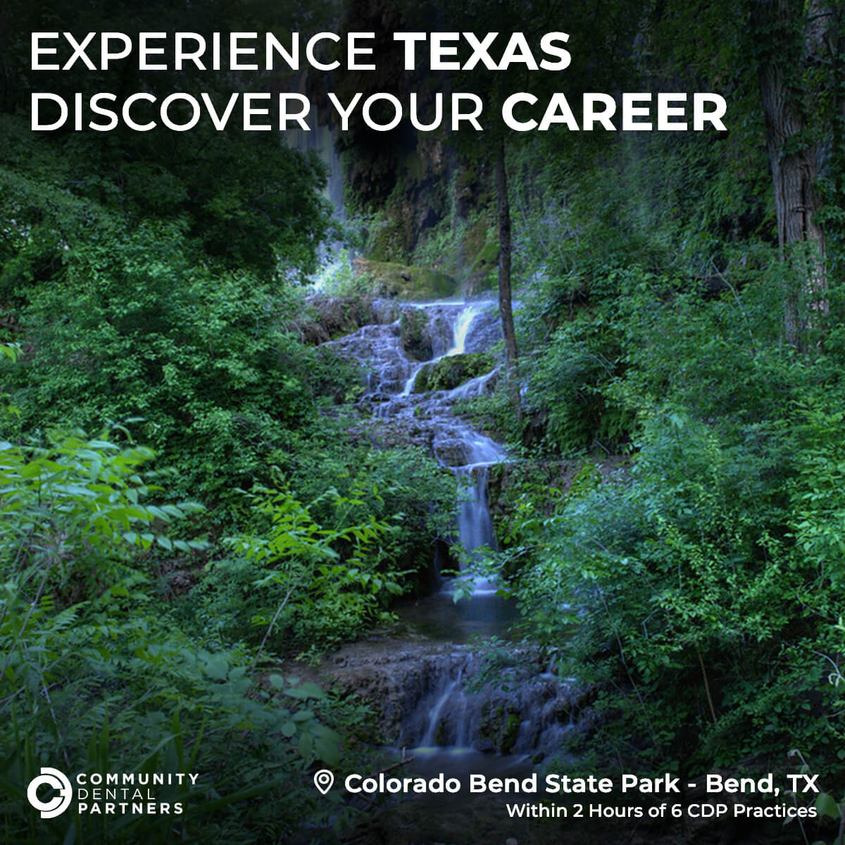 A photo of Colorado Bend State Park in Bend, TX, just one of the amazing parks you can visit in Texas. This park is within 2 hours of 6 CDP Practices!