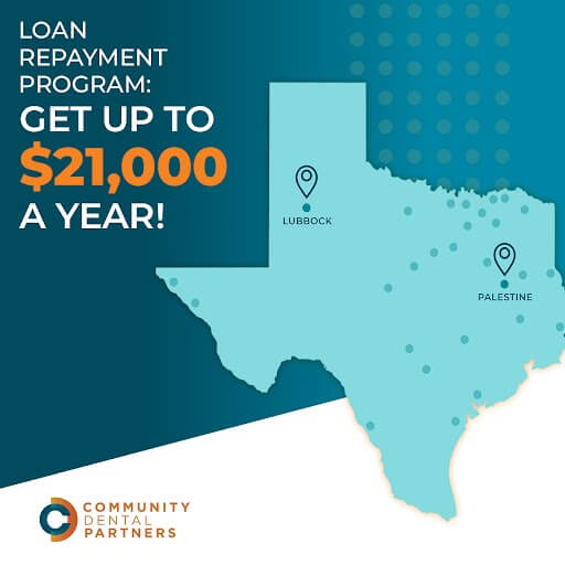 Graphic showcasing CDP's loan repayment program. By working at certain underserved locations, dentists can earn up to $21,000 a year to help pay off dental school debt.