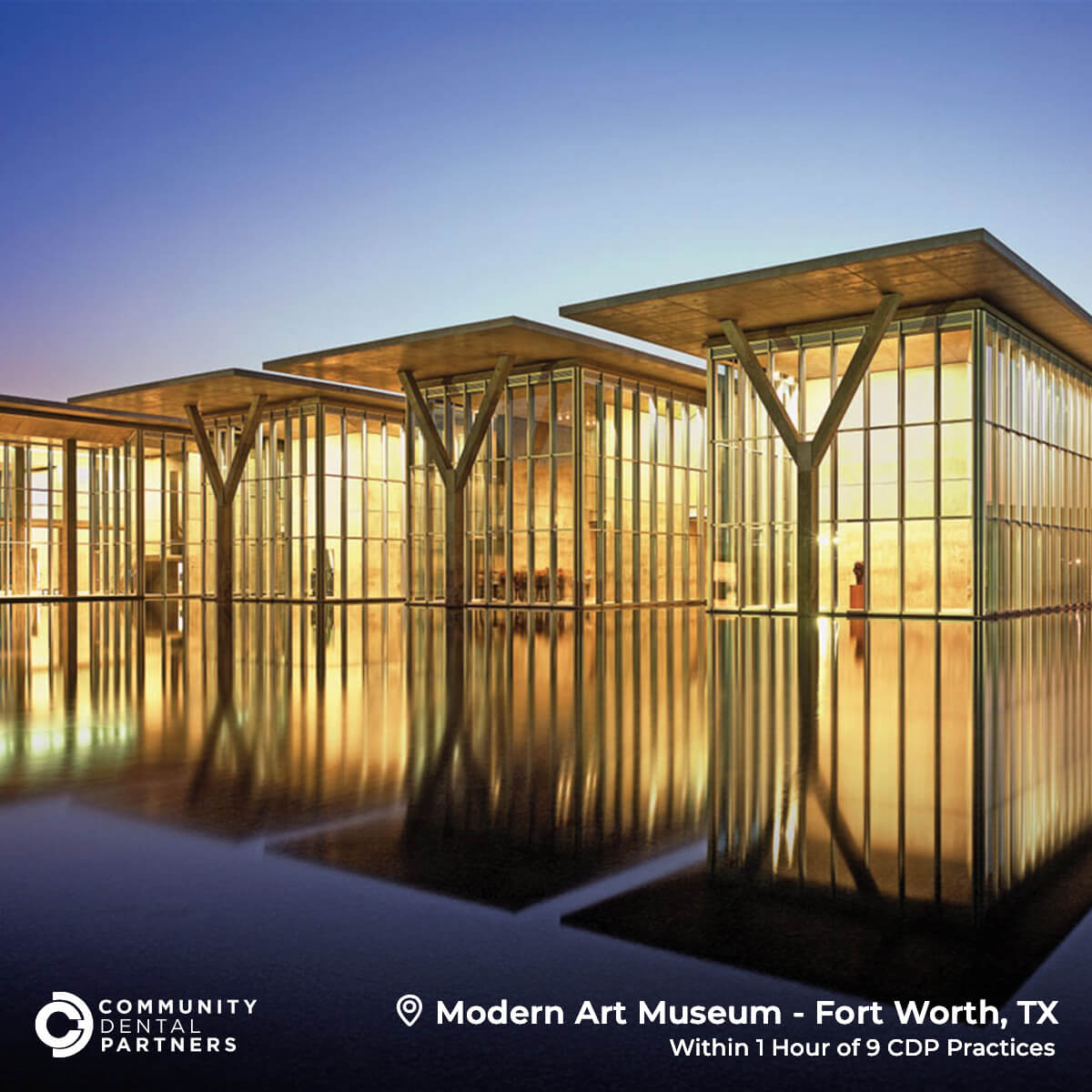 A photo of the Modern Art Museum in Fort Worth, Texas, located within 1 hour of 9 CDP practices.