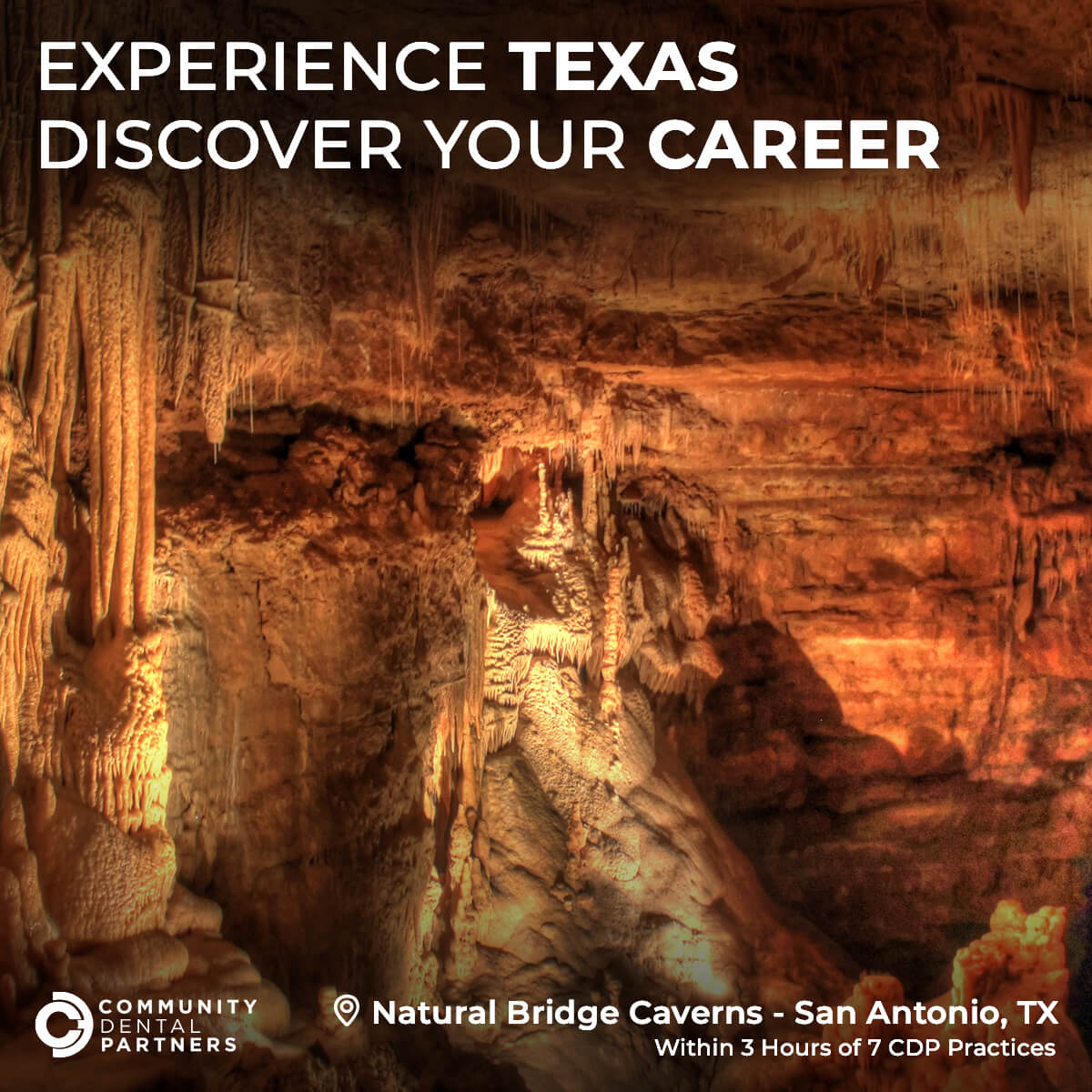 A photo of the Natural Bridge Caverns in San Antonio, Texas, located within 3 hours of 7 CDP practices!