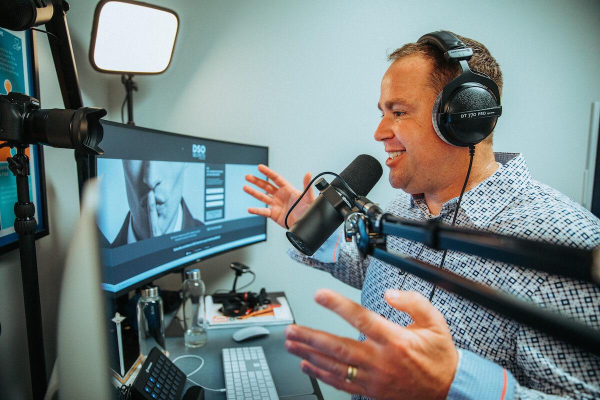 Emmet Scott records his podcast, DSO Secrets.